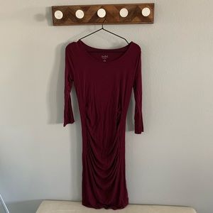 3/4 Sleeve Burgundy Maternity Dress